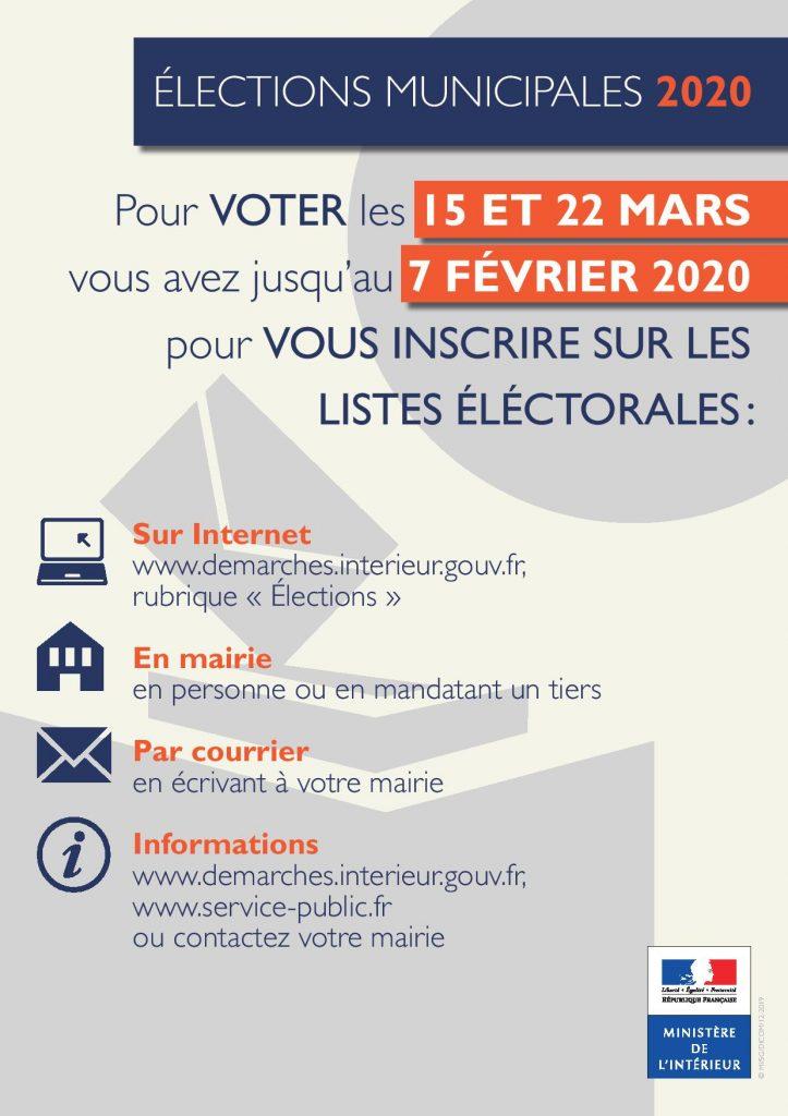Inscription élections municipales 2020